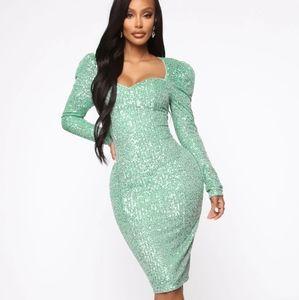 Fashion Nova- Long Sleeve Sequin Dress
